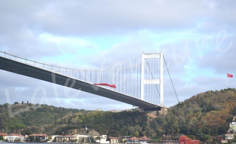 Bosphorus Bridge hanging above the Bosphorus Strait